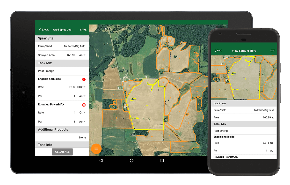Farm Spray Pro makes spray records easy. Keep good spray records, meet dicamba record keeping requirements, and view detailed spray reports.