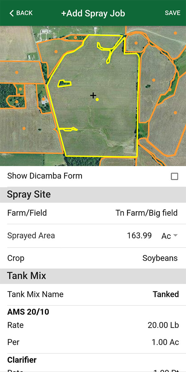 Use Farm Spray Pro to record spray records so that you are dicamba compliant. Whether it's Engenia, XtendiMax or FeXapan, make sure you are meeting your dicamba record keeping requirements. Search and find chemicals, pesticides or herbicides in our chemical database, search for target pests, buffer, wind, temperature, start/end times, start/end dates, record applicators and operators and enter in crops you are planting.